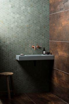 Our Verdi Capri Honed Marble Hexagon Mosaic Tile is available in various formats. Bad Inspiration, Bathroom Inspiration, Home Design Decor, Bathroom Interior Design, Interior Paint, Bathroom Toilets, Small Bathroom, Bathroom Fixtures, Concrete Basin