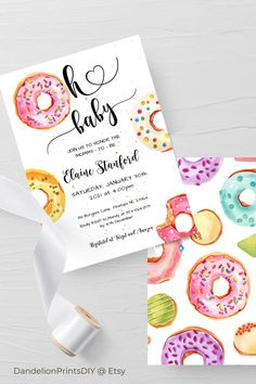 This cute Oh Baby shower invite features fun watercolour donuts. All the templates in this set are editable instant downloads.#babysprinkle Baby Sprinkle Invitations, Baby Shower Invitation Templates, Invitation Set, Rsvp, Sprinkles, December, Stationery, Etsy, Gifts
