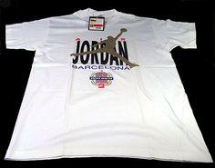 Sold VTG NIKE AIR JORDAN BARCELONA OLYMPIC WHITE T-SHIRT L 1991 GRAY TAG NEVER WORN