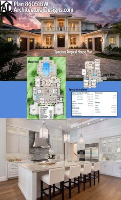 The kitchen island has comfortable seating for four inside Architectural Designs Luxury House Plan 86051BW. We've got more pictures online of this home. It gives you 4 beds, 5,400+ square feet of heated living space PLUS over 1,100 square feet of covered lanais and almost 900 square feet of covered balconies. Ready when you are. Where do YOU want to build?