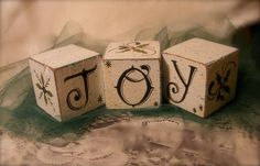 JOY  Decorative Wood Blocks  Holiday Christmas by strokesoffancy, $10.00