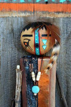 Spirit Doll, Gourd Crafts, Spirited Art, Painted Gourds, Native American Artists, Carnival Masks, Southwest Art, Masks Art, Wood Display