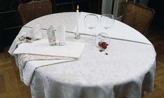 Tischdecke Damast Chrysantheme - shabby - chic - hochzeitsdeko - heimatwerke - leinen