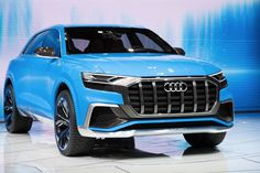 The 2018 Audi Q8 concept has vertical stripes on its huge grille that give it a Richard...