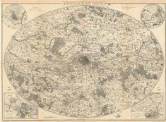 ENVIRONS OF PARIS. Large antique map 88x64 cm. DOWER. Dispatch atlas, 1863