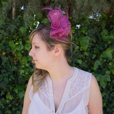 Fuchsia Fascinator Fascinator, Crown, Trending Outfits, Unique Jewelry, Handmade Gifts, Etsy, Vintage, Fashion, Kid Craft Gifts