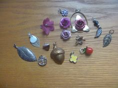 flower and plant themed pendants, 15 charms Kids Rings, Small Rings, Vintage Rhinestone, Jewelry Making Supplies, Belly Button Rings, Craft Projects, Handmade Items, Charms, Plant