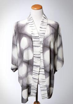 Silk Kimono in Gray and White Itajime Hand Dyed Shibori. Made to Order.