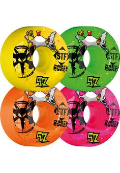 "It's party-time! The Bones Wheels STF Party Pack II V1 wheels will liven up you board, by putting some color on it. ""La-Di-Da-Di we likes to party!"" #bones #wheels #boneswheels #titus #skateboarding #skate #party #yellow #green #pink #orange"