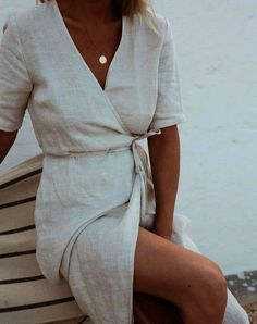 I love linen wrap dress