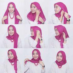 kumpulan gambar tutorial hijab segi empat sederhana terbaru simpel - my ely Tutorial Hijab Segitiga, Tutorial Hijab Wisuda, Square Hijab Tutorial, Simple Hijab Tutorial, Cara Hijab, Ootd Hijab, Hijab Chic, Hijab Fashion, Girl Fashion