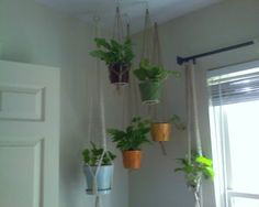 How to make a hanging potted plant rope holder