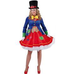 Clown verkleedkostuum voor dames  Luxe clowns jurkje Lucky voor dames. Prachtige clownsjurk met volle rok en een aangehecht jasje met lange mouwen. Het jurkje is gemaakt van 100% polyester.  EUR 49.95  Meer informatie