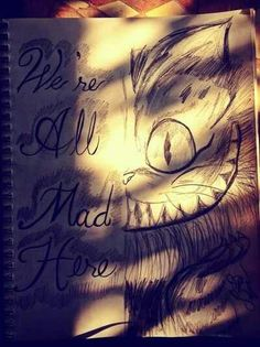 we're all mad here. alice in wonderland. cheshire cat drawing.