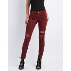 Refuge Skin Tight Legging Destroyed Jeans ($33) ❤ liked on Polyvore featuring jeans, wine, high rise skinny jeans, ripped skinny jeans, destroyed skinny jeans, distressed jeans and denim jeans