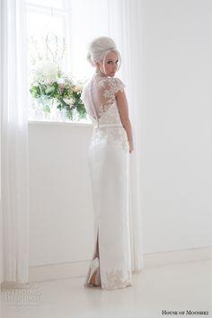 house of mooshki bridal 2015 lace cap sleeves high neck column wedding dress style jemima back