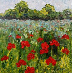 "Original Palette Knife Poppy Landscape Painting ""Field of Remembering"" by Colorado Impressionist Judith Babcock"