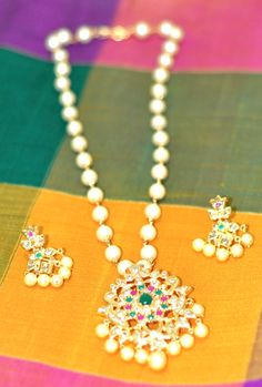 South Sea Pearls One Gram Gold Necklace Set with Ruby, Emerald and Uncuts Pendant and Earrings - Traditional Indian Jewelry Bollywood by LaxmiFashions