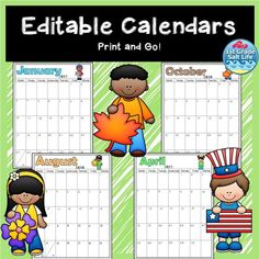 Jun 25, 2020 - These 2020-2021 Editable Calendars come with lifetime updates! Each calendar is done in portrait view and includes a header and the themed picture. A blank calendar has also been included! Tip: Looking to save ink! Print in gray scale mode (on your printer) on colorful paper for a fun look! The New School, New School Year, Teaching Materials, Teaching Resources, Seeing Quotes, Teacher Notebook, Classroom Games, Back To School Activities, Teacher Tools