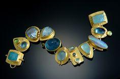 Blue multilink bracelet by Sydney Lynch - perfect! Contemporary Jewellery, Modern Jewelry, Jewelry Art, Gemstone Jewelry, Silver Jewelry, Fine Jewelry, Jewelry Design, Fashion Jewelry, Jewelry Holder