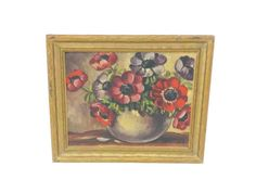 1940's Small Framed Floral Painting 5 x 4 Frame by EclecticEmbrace