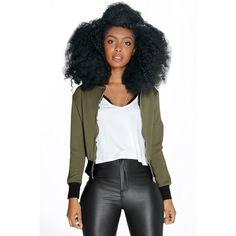 Boohoo Petite PETITE JENNY SCUBA RIB MA1 BOMBER JACKET ($35) ❤ liked on Polyvore featuring outerwear, jackets, khaki, black flight jacket, duster coat, black puffer jacket, petite jackets and wrap jacket