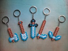 5 MINECRAFT Inspired  Tool Key Chains Pixel  Birthday Party Favors Halloween Christmas