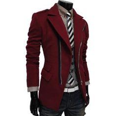 TheLees (PJK) Mens Unbalance Zipup Slim Fit PEA Coat Jacket: Amazon.co.uk: Clothing