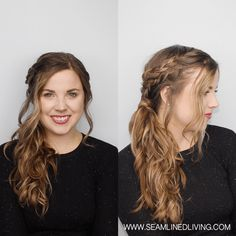 Double Braid Side Ponytail with Curls<