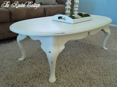 Chalk Paint Oval Coffee Table-SOLD von TheRustedCottage auf Etsy