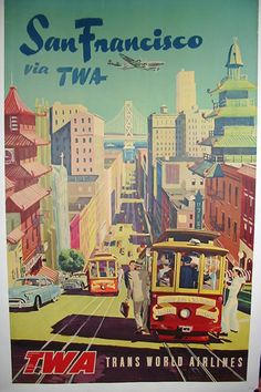 SF by TWA, Vintage Travel Poster, San Francisco, California Post Card from www.zazzle.com/...