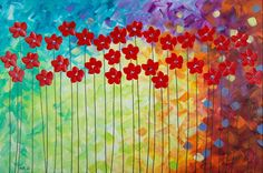 """""""Summer Is Ending"""" by QIQIGallery 36""""x24"""" Original Painting Tree and Flower Painting Wall Décor Wall Hangings Office Wall Art for Sale by Artist"""