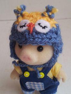 Sylvanian Families ear flap owl hat  miniature crochet by MossMountain, £2.50