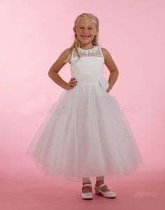 Couture-Designer Girls Dress Style - WHITE Satin Dress with Illusion Neckline and Tulle Skirt White Satin Dress, Satin Dresses, Gowns, Girls Designer Dresses, White Flower Girl Dresses, Illusion Neckline, Lace Bodice, Couture, 3d