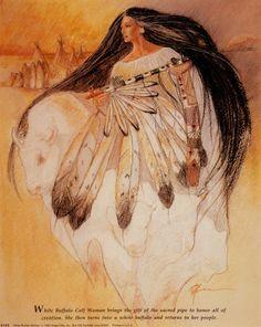 White Buffalo Woman Native American Artwork, Native American Women, American Indian Art, Native American Indians, Native American Artists, Native Indian, Native Art, Native American Mythology, Goddess Art