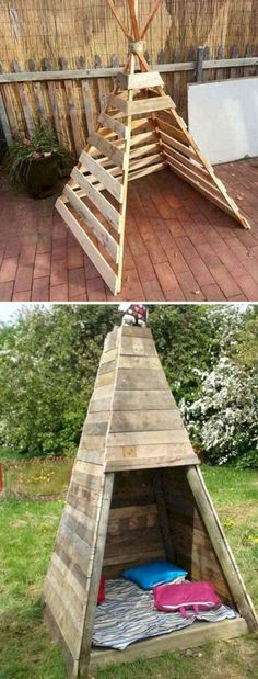Idea for a backyard tee pee fort. Made from recycled pallets | Reclaimed wood ideas.