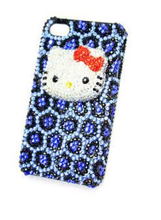 Leopard kitty Crystal iPhone 5 cover,4,4s Color diamond Hard back Case ,Pearl Cell phone cover. $25.99, via Etsy.