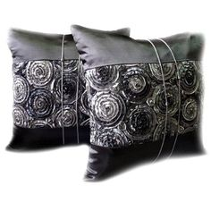 One Pair Two Tone 3d Bouquet of Gray Roses Throw Cushion Coverpillow Sham Handmade By Satin and Thai Silk for Decorative Sofa Car and Living Room >>> To view further for this item, visit the image link.