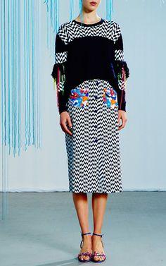 Broken Twill Jacquard Embellished Nadia Skirt by Tanya Taylor for Preorder on Moda Operandi