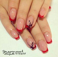 Fleur #acrylicnails #acrylic #nails #sencillas Pretty Nail Art, Cute Nail Art, Cute Nails, French Nail Designs, Acrylic Nail Designs, Nail Art Designs, French Manicure Nails, Pink Nails, Blue Nail