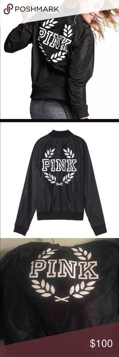 NWT SOLD OUT PINK BOMBER jacket black large Black Size large SOLD OUT online. Retail is $89.95 plus tax is $6.75!! And fee from selling NWT sold out online selling for $250 on eBay!!  All my items with increase in price due to new seller fee Victoria Secret, PINK, Bke, Rock revivals, miss me, true religion, express, buckle, affliction, sinful check out my closet! Ugg Australia. The North face. Also available ♏️ and 🅿️🅿️ PINK Victoria's Secret Jackets & Coats