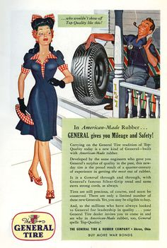 """Dan Holcomb: General Tire Ads (1943-1945)  National Geographic; Saturday Evening Post.  Successful illustrator throughout the late 1930s with national ad campaigns for General Tire, Royal Cravats, Mazda Lamps, Listerine, Etiquet. Covers for Collier's, American Weekly Saturday Home, Liberty; interior art for Sunday Pictorial Review, Tower Radio Magazine. By the 1950s, his commercial illustration career is over. Also known as D B Holcomb, he signed his work with his last name or simply """"H."""""""
