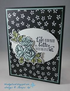 I love the Petal Palette bundle. I especially love that these flowers have a matching die! I stamped them in Memento Tuxedo Bla...