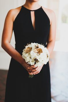 black bridesmaid dress - photo by Chaz Cruz http://ruffledblog.com/boho-glam-wedding-in-colorado