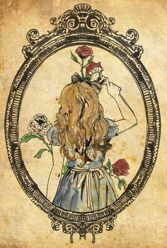 #aliceinwonderland sketch of alice painting red roses white, through the looking glass, mirror frame