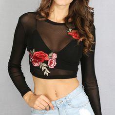 Women crop top Black Mesh Transparent Rose Flower Embroidery Long Sleeve Top Tee #CropTop #Casual
