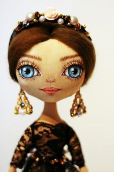 """Dolce doll OOAK Art Doll Handmade Cloth Miracle Doll Fashion girl 11"""" - I love her dolls"""