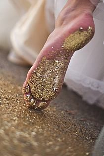 a trail of glitter.I wonder if you could do this in wet cement? It would be great to have each child with a different color glitter, walk the path!