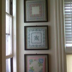 vintage hankies in window frames