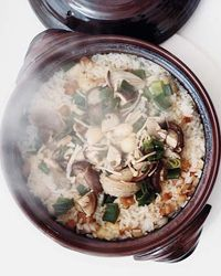 claypot rice with mushrooms, scallions, soy, bacon, garlic, ginger